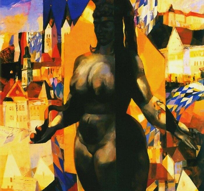 В'ячеслав Приходько, конкурсна робота на захист скульптури Ернста Фукса «Естер», 1991 рік, полотно, олія, 100х100