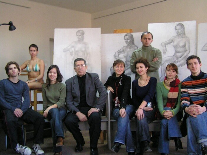 Viacheslav Prykhodko with his students