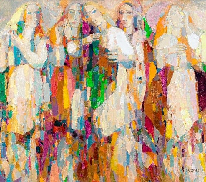 В'ячеслав Приходько, «Квіти, жінки, хустини», 2008 рік, полотно, олія, 86х100
