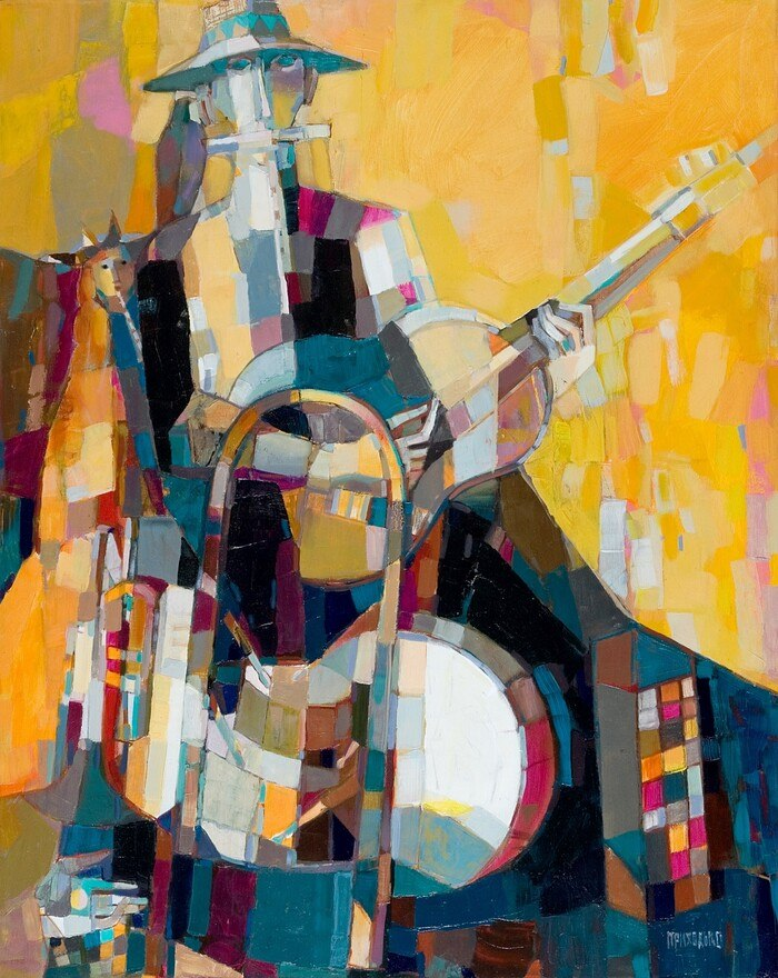 В'ячеслав Приходько, «Ужгородський музикант. Людина-оркестр», 2008 рік, полотно, олія, 100х80