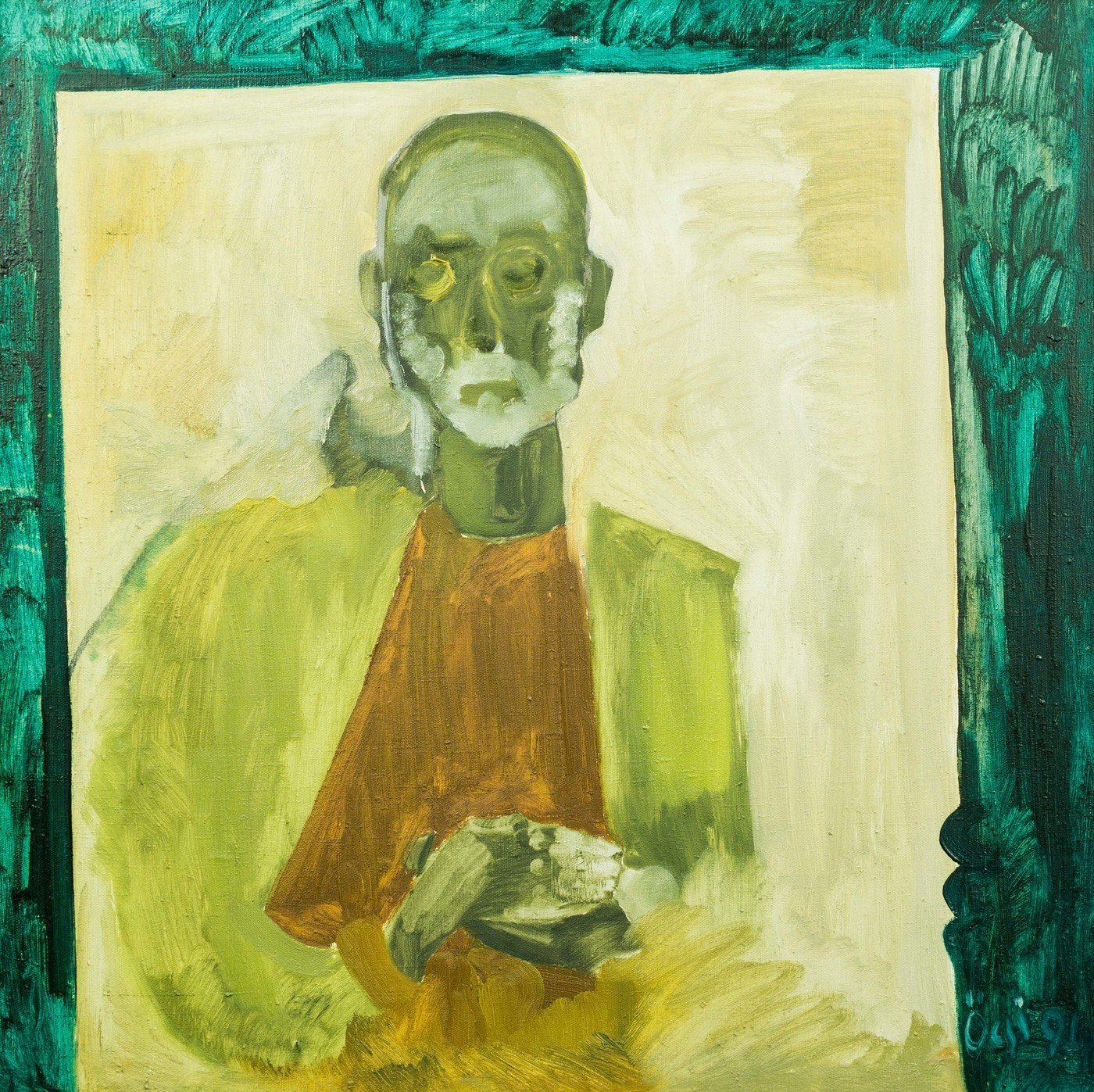 "F. Seman ""Self-portrait in the coffin"", 1994, oil on canvas, 80x92"