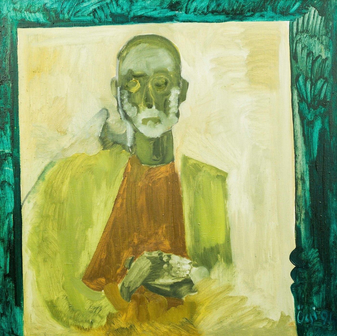 """Ф. Семан """"Автопортрет в труні"""", 1994, п.о., 80х82"""