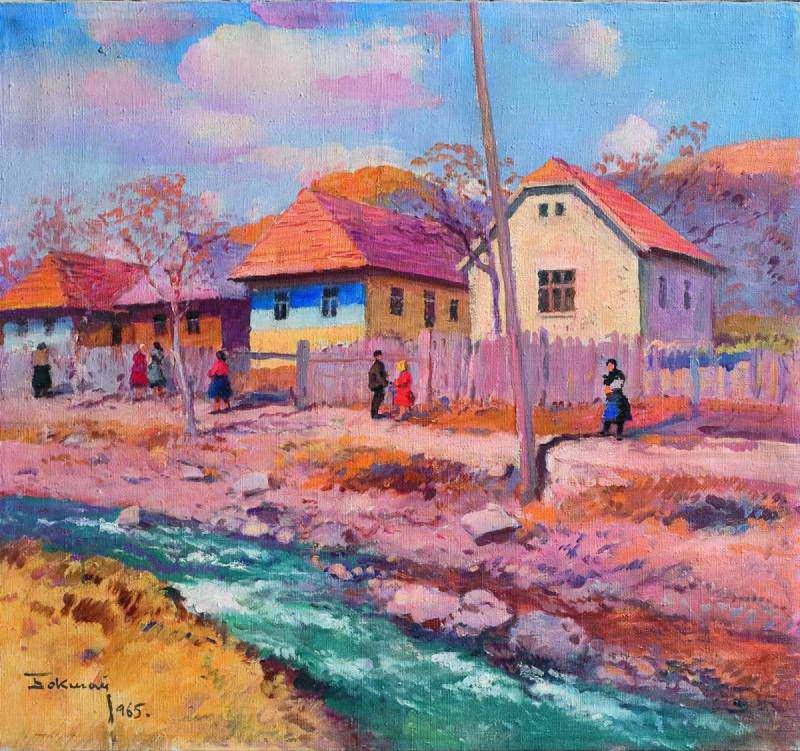 Y. Bokshai 'Mountain Village', 1965, oil on canvas, 64х69 (Аукціонний дім Корнерс)