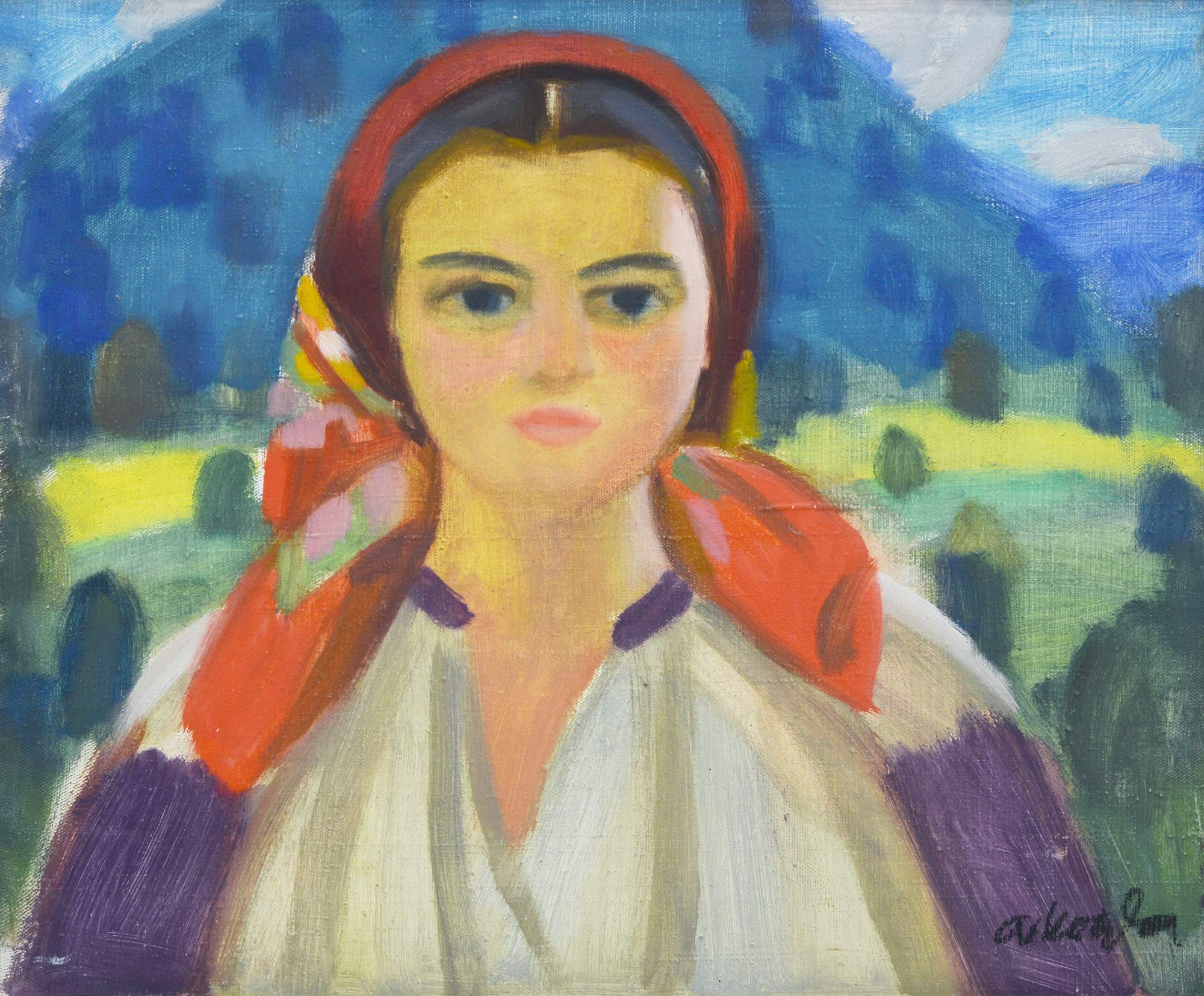 "A. Kotska A Girl From Verkhovyna', 1970s, oil on canvas, 53,5x64  (Auction house ""Golden Section"")"