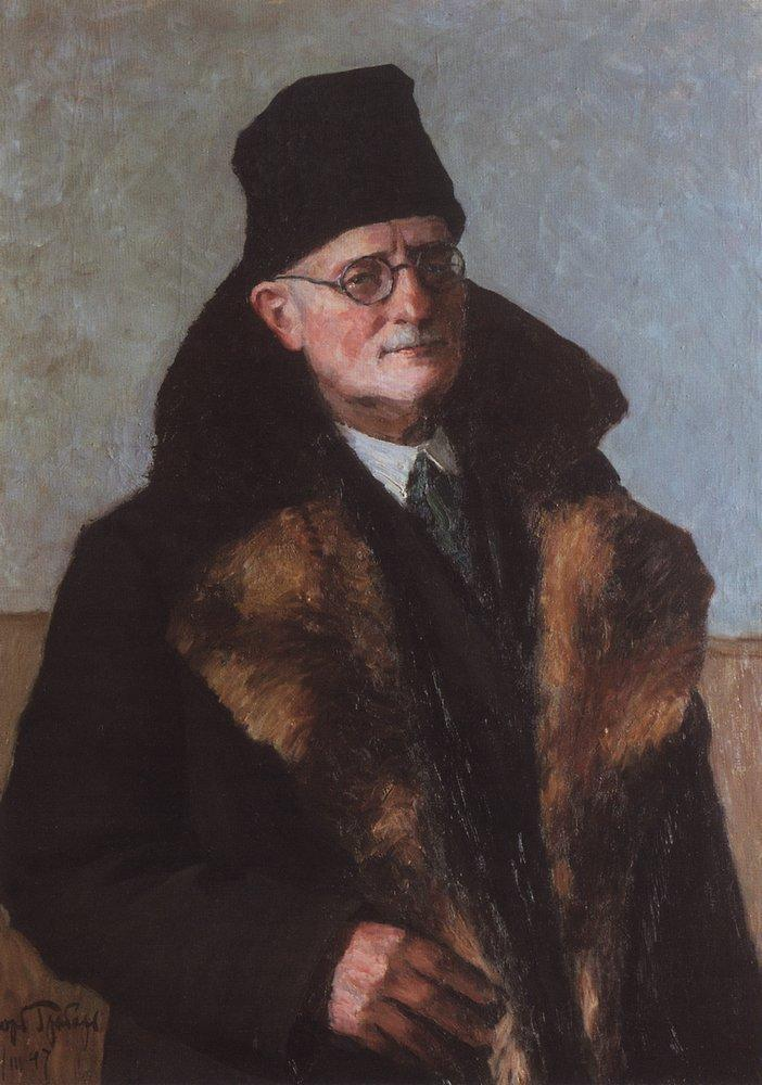 "Ihor Hrabar, ""Self Portrait In A Fur Coat"", 1947, oil on canvas, 100х75,  State Tretyakov Gallery in Moscow"