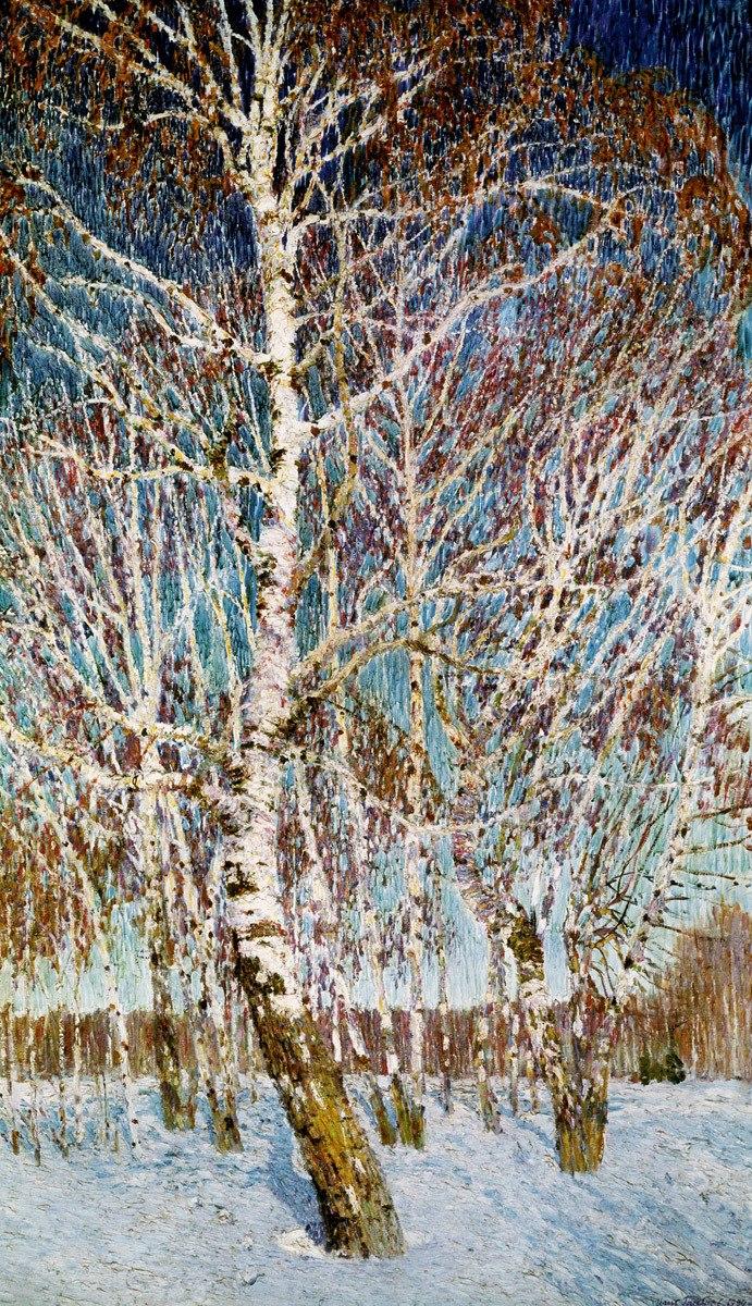 "Ihor Hrabar, ""February Azure"", 1904, oil on canvas, 141х83,  State Tretyakov Gallery in Moscow"