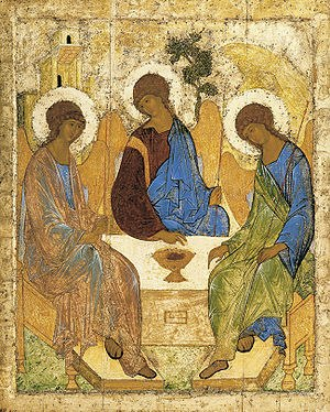 The icon of the Holy Trinity by Andrei Rublev,  beginning of the 15th century, tempera on wood, 142х114  restored by Ihor Hrabar,  State Tretyakov Gallery in Moscow