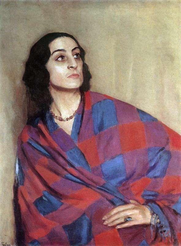 Ihor Hrabar, Portrait of Y. Nikulina-Volkonska, 1935, oil on canvas, 101х79, Transcarpathian Regional Museum named after Yosyp Bokshai