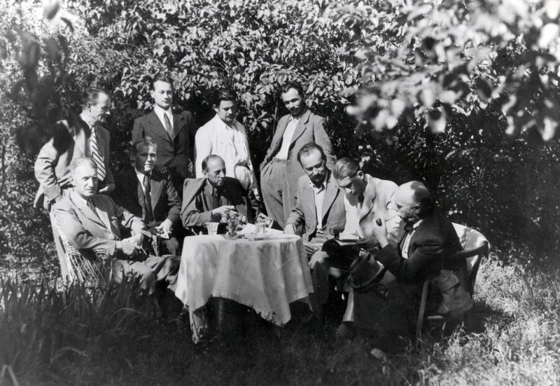 In the garden at A. Erdeli. Standing – A. Erdeli, E. Kontratovych, S. Petki, V. Svyda. In the foreground – A. Kotska, I. Harapko, E. Hrabovskyi, F. Manailo, S. Sholtes, Y. Bokshai.Photo of the late 1940s – early 1950s