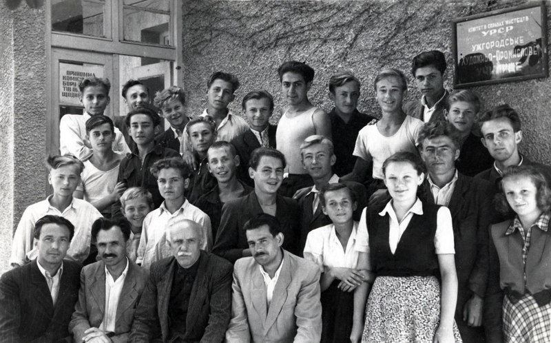 Vasyl Svyda (in the first row second to the left) with colleagues among college students.Photos of the late 1940s