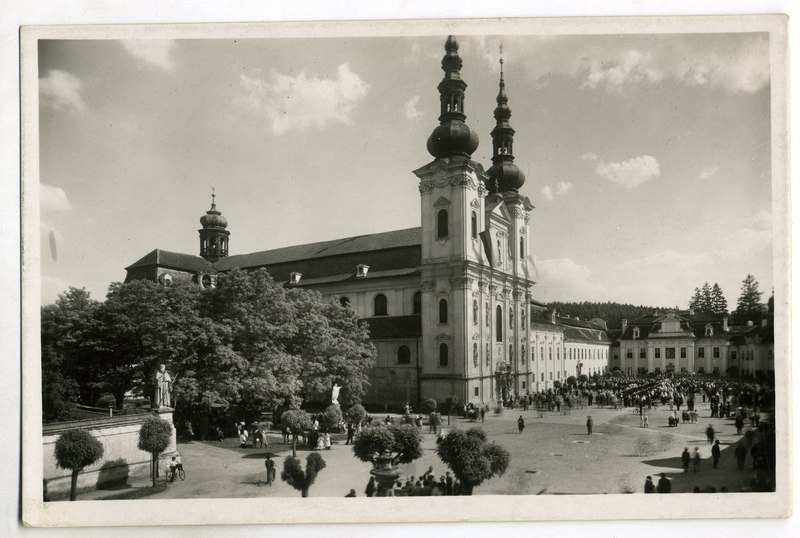 Basilica of the Assumption of the Blessed Virgin Mary and Saints Cyril and Methodius of the Velehrad Monastery. Czech Republic (Moravia). Photo of the late 1930s - early 1940s
