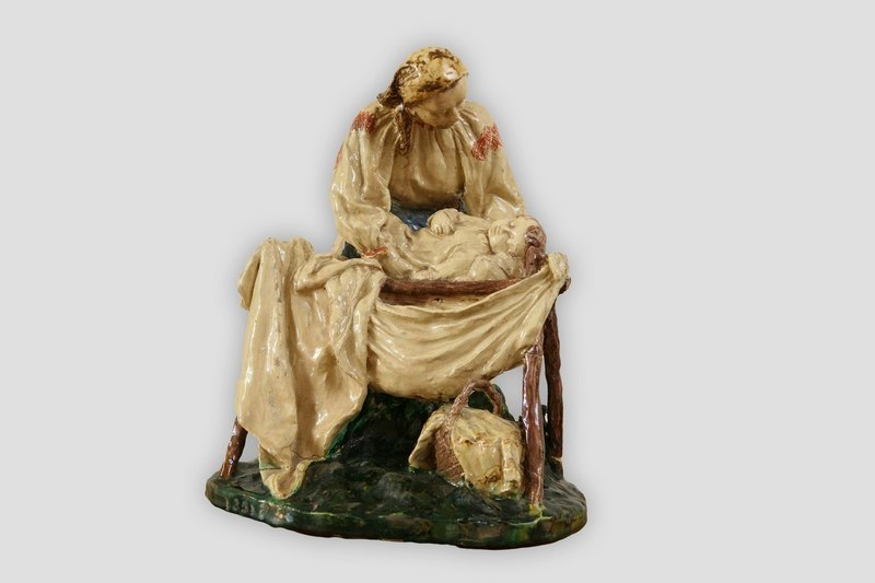 """Above The Cradle"", 1957, majolica, sculpture of small forms. Uzhhorod"