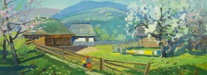 Spring In The Village, the 1960s, oil on canvas, 56х148,5