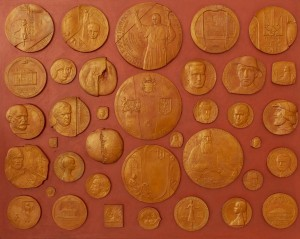 M. Belen Medals and posters. From the series 'Outstanding Figures Of History, Science And Culture', tinted terracotta, cardboard, wood
