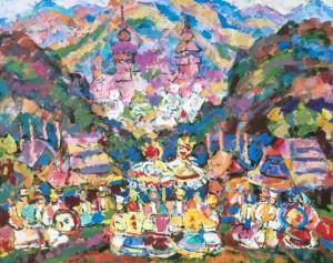 Carpathian Land, 2008, tempera on canvas, 80х100