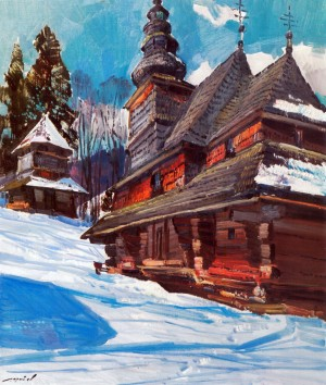 I. Shutiev 'Greek Catholic Church of the Intercession of the Blessed Virgin (Roztoka Village), 1997, oil on cardboard, 75x65