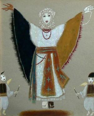 Ескіз жіночого костюму до вистави «Сірано де Бержерак», к.т.гуаш