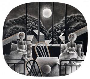 N. Ponomarenko 'Insomnia' From the series 'Memories Of Armenia', 1978, mixed technique on paper, 33,5х37,5