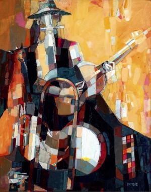 Uzhhorod Musician, Man-Orchestra, 2008, oil on canvas, 100x80