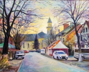 A. Sakalosh T. Shevchenka Street, Berehovo', 2017, oil on canvas, 58x72