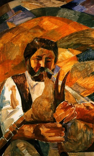'Self-Portrait With The Bagpipe', 1975, oil on cardboard, 80x50