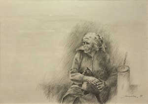 Z. Mychka An Old Woman', 1998, oil on paper, 50x70