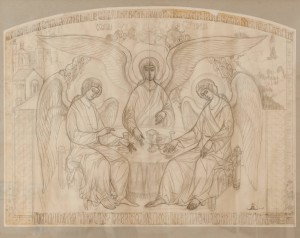 M. Belen High relief sketch 'Holy Trinity', pencil on paper