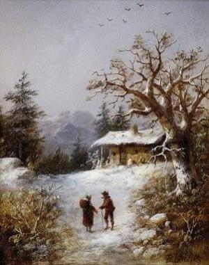Боемм Т. 'Зимовий пейзаж', 1880, дерево,о., 25х19,5