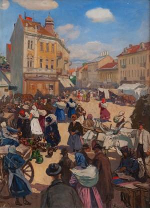 Бокшай Й. 'Базар в Ужгороді', 1927, к.о., 80х59
