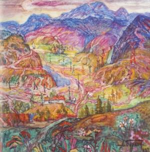 Uzhanska Valley, 1986, oil on canvas, 73x73