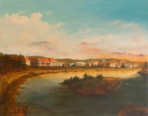 V. Klymkovych Landscape With Views Of Mountain, River And City', oil on canvas, 90x120