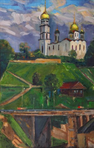 D. Mitsovda Volodymyr-Dormition Cathedral', 2018, oil on canvas, 46x70
