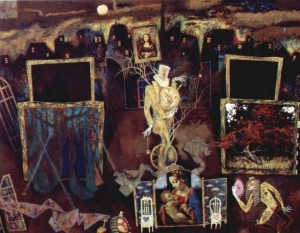 Ескіз до вистави «Нічний вартівник і праля», 2000, т.двп, левкас, жовткова емульсія