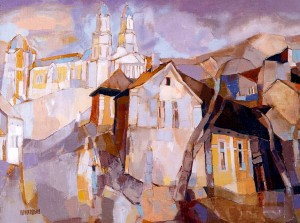 The Road To Uzhhorod Cathedral, 2000, oil on canvas, 60x80