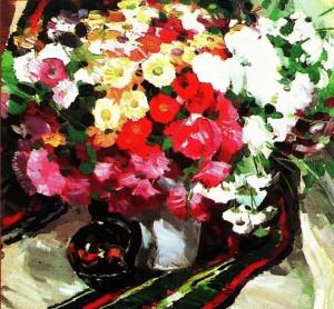 Савіних Я. 'Квіти восени', 2006, п.о., 65х65