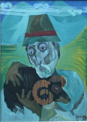 Автопортрет з чорним баранчиком, з фотоархіву Небесника Ю., 1996, п.о., 85х62