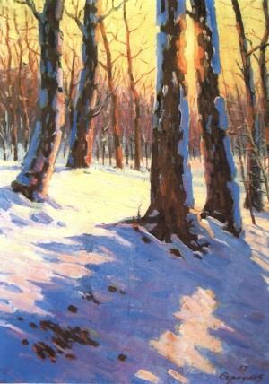 Захід сонця в березовому лісі, 1967
