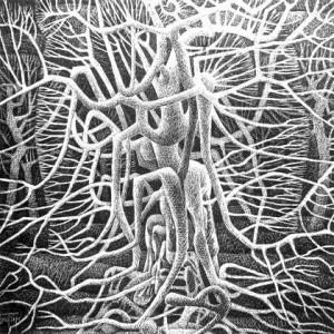 Бедзір П. Із серії 'Життя дерев', 1993, к. гравюра на чорному грунті, 90x90