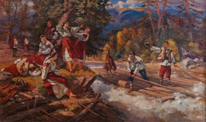 Y. Bokshai Borokashi (raftsmen)', 1961, oil on canvas, 120x200
