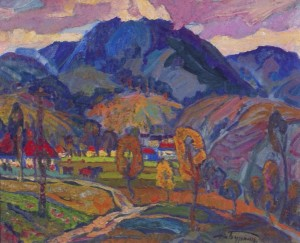 In The Mountains, 1981, oil on canvas, 64x85