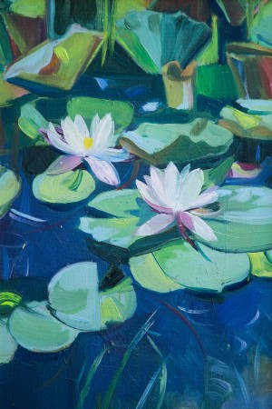 Y. Katran White Waterlily', 2016, oil on canvas, 35x50