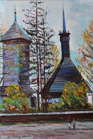 D. Mitsovda Bell Tower In Sokyrnytsia Village', 2017, oil on canvas, 46x70