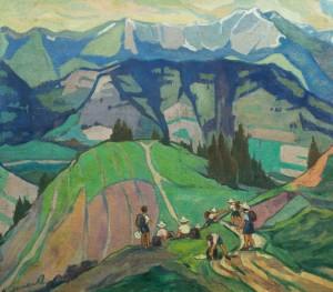 Юні туристи в горах, 80х90