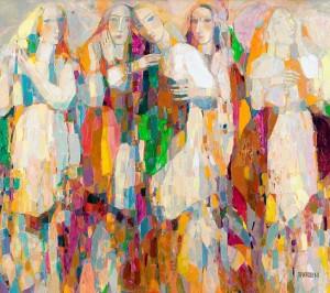 Квіти, жінки, хустини, п.о., 2008, 86х100