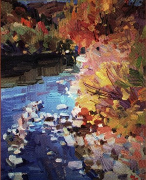 Y. Savinykh On The Bank Of The River Tisza', 2012, oil on canvas, 40x50