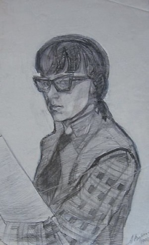 A. Vorokhta Self-portrait', 1971, oil on paper, 39x24