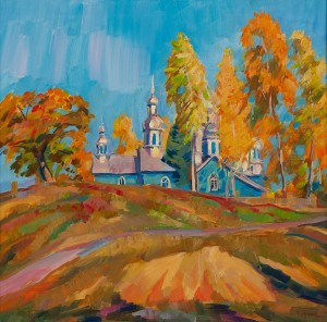 V. Vovchok 'Autumn In Bedevlia Village', 2017, oil on canvas, 70x70