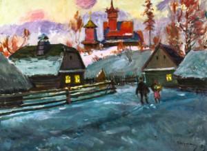 Зимовий вечір у селі, 1973 р.