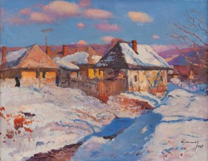 Y. Bokshai Winter In Kamianytsi Village', 1967, oil on canvas, 65x82.5