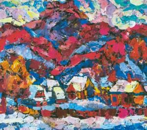 Khust Castle, 1980, tempera on canvas, 80х80